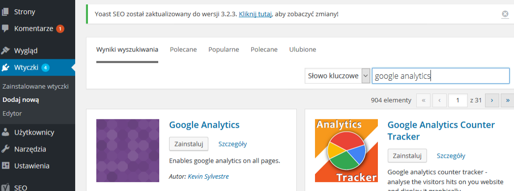 instalacja google analytics w wordpress