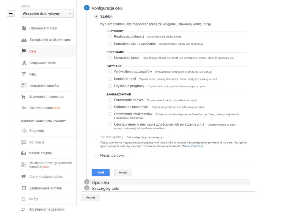 Konfiguracja celów w Google Analytics