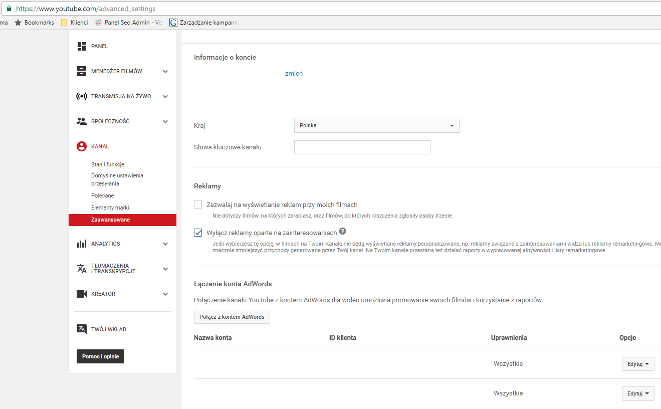 Integracja kont YouTube i AdWords