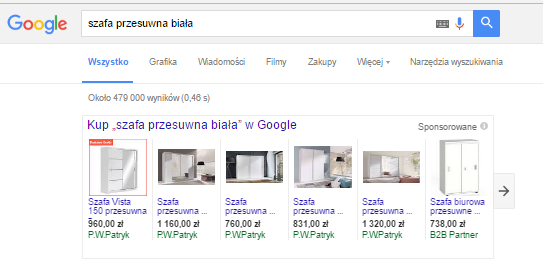 Google Merchant Center widok