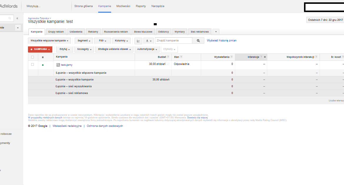 stary panel google adwords widok