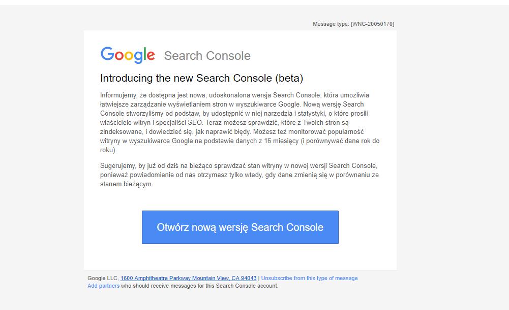 przełączanie nowej wersji Google Search Console