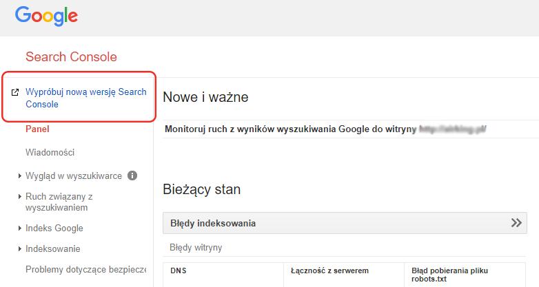 przełączenie Google Search Console