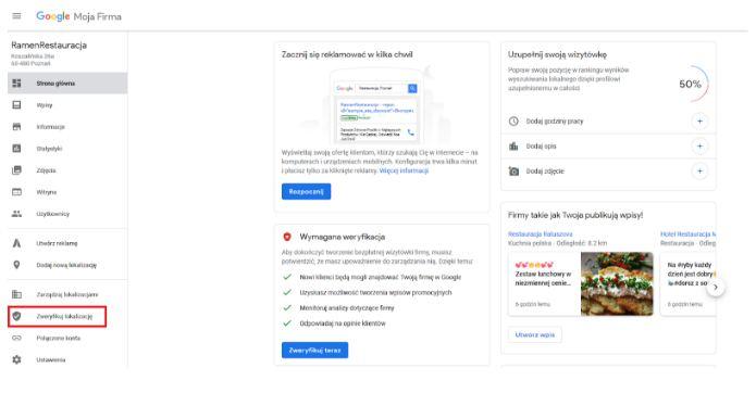 google firma jak założyć profil