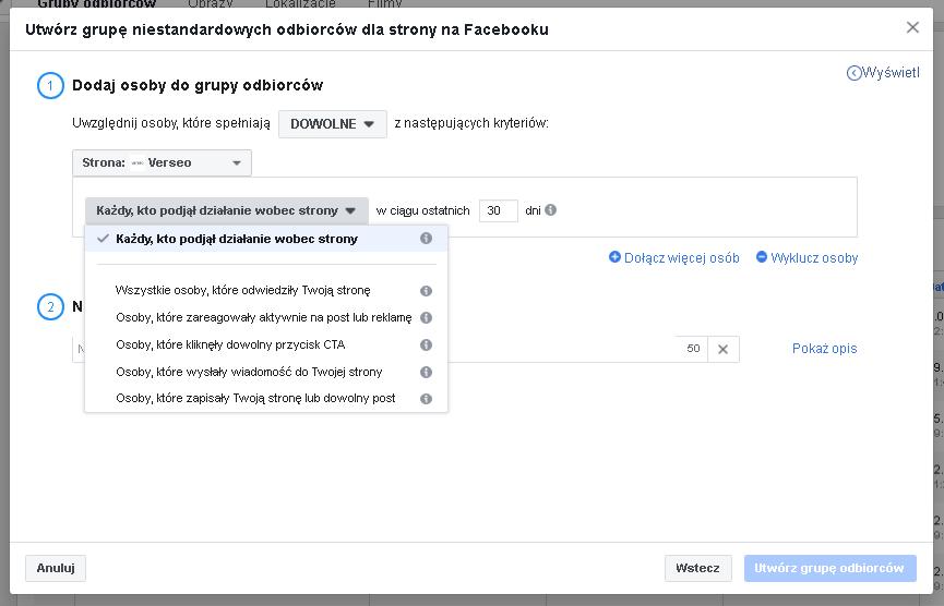 remarketing facebook grupy odbiorców